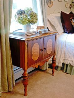 Bedside tables are an essential part of a bedroom suite, but don't feel confined to only using furniture pieces intended to be used as side tables. Petite dressers, servers and desks can all be used as side tables that provide loads of storage. For a tight space, use an antique stool, plant stand or even a wall-mounted corbel.