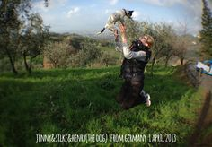 jenny & silke & henry 1aprile2013 jump for Forestaria Organic Farm in Lucca Tuscany