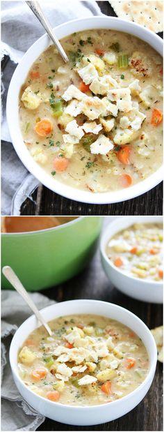 Creamy Roasted Cauliflower Chowder Recipe on twopeasandtheirpod.com Warm up with…