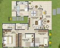 """004 Plano de casa de 100 metos cuadrados – 3 dormitorios – 1 Piso.  Este plano de casa muestra en su primer piso sus 100 metros cuadrados habitables aproximadamente compuestos por una amplia cocina, living, comedor, terrazas amplias, cómodas y confortables, 3 dormitorios, 2 cuartos de baño 1 compartido y el otro para la habitación en """"suite""""."""