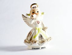 Lefton January Birthday Angel Figurines by DoorCountyVintage