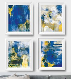 Abstract Art Print Set 4 Navy and Yellow Abstract digital Yellow Wall Art, Blue Art, Blue Abstract, Abstract Print, Using Acrylic Paint, Seascape Paintings, Large Art, Fine Art Paper, Printable Art