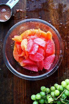 grapefruit, orange, and green grape compote