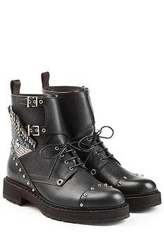 Fendi - Bug Leather Biker Boots   STYLEBOP.com