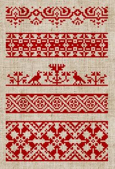 red and white embroidery sampler