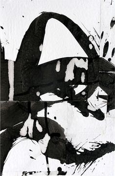 would look cool on a big white wall. Iberian Variations - Cecil Touchon Collages on Paper by Collage Artist Cecil Touchon Tachisme, Black And White Painting, Black And White Abstract, Abstract Expressionism, Abstract Art, Collage Artists, Contemporary Paintings, Oeuvre D'art, Painting & Drawing