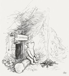 Shepard's Original Winnie the Pooh Drawings. Shepard's drawings are considered to be Classic Pooh and capture the imagined world of the 100 Acre Wood in their rough yet detailed style. Winnie The Pooh Drawing, Winnie The Pooh Quotes, Piglet Quotes, Art And Illustration, Book Illustrations, Eh Shepard, House At Pooh Corner, Disney Quotes, Minion