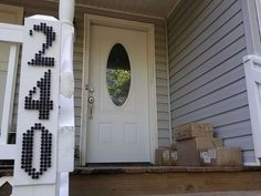 Industrial House Numbers | Make it on a board to not damage the siding.