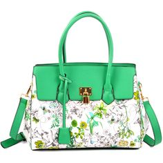 Designer Inspired Floral Saffiano Faux Leather Padlock Satchel | The Wanted Wardrobe Boutique