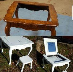 diy vanity for little girl. Ugly end table turned to a little girl s vanity My DIY out great  Pinterest
