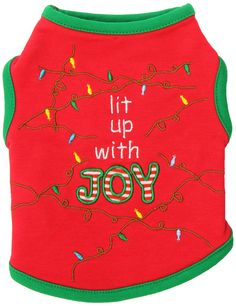 Zack & Zoey Polyester/Cotton Lit Up with Joy Dog Tee, XX-Small, 8-Inch, Red