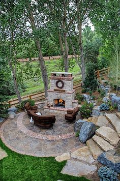 Cozy Rustic Patio Design Ideas – Page 6 – Home Interior and Design Backyard Fireplace, Backyard Patio, Backyard Landscaping, Outdoor Fireplaces, Fireplace Stone, Patio Stairs, Standing Fireplace, Nice Backyard, Flagstone Patio