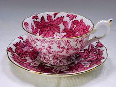 COALPORT Red Leaf Vintage Tea Cup and Saucer , Chintz, 1940s