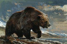 """Shore Patrol - Brown Bear"" by Bob Kuhn, 1968 Remington Calendar, North American Big Game Animals Bear Paintings, Wildlife Paintings, Wildlife Art, Ours Grizzly, Bear Drawing, Bear Tattoos, Hunting Art, Bear Pictures, Bear Art"