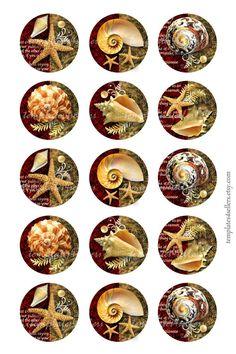 Digital Collage Sheet Vintage Seashell by Diy Resin Crafts, Paper Mache Crafts, Diy Crafts To Sell, Bottle Cap Projects, Bottle Cap Crafts, Bottle Cap Art, Bottle Cap Images, Decoupage Vintage, Beach Crafts