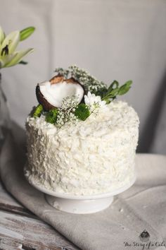 Bounty Cake ~ a delicious chocolate cake, filled with coconut custard and frosted with mascarpone frosting ~ via this blog, The Story of Cake.