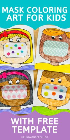 This mask coloring art for kids is a great way to talk to kids about wearing masks and the safety behind why as well as serve as a fun creative activity. Beginning Of The School Year, First Day Of School, Pre School, Middle School, Back To School Art, High School, Back To School Crafts, School Kids, Back To School Activities