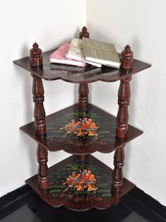 Vintage Wood Showcase Home Decorative Painted Corner Table Open Shelves Cabinet Book Case 37 x 18 x 18 Inches by HouseOfHandicraft on Etsy