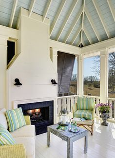 Thinking of making our fireplace double sided so we can use it in the sunroom - The Inspired Room