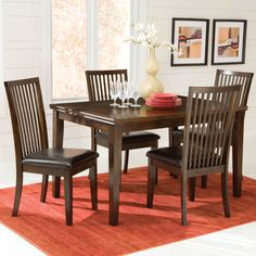 Peyton 5 Piece Dining Set, 14422 Features:  Cosmopolitan Design Of This  Dignified Group. Double Bead Top Edge Shape Detail And Crisp Square Tapered  Legs.