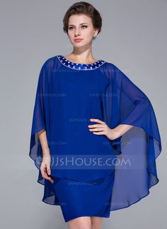 Sheath/Column Scoop Neck Knee-Length Chiffon Charmeuse Mother of the Bride Dress With Beading (008025716) - JJsHouse (for my mom)