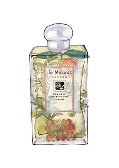 Items similar to Framed Print Jo Malone's 'French Lime Blossom' Perfume on Etsy - Framed Print Jo Malone's 'French Lime Blossom' Perfume - Perfume Body Spray, Perfume Making, Beauty Illustration, Jo Malone, Illustrations, Perfume Bottles, Fragrance, Water Spray, Charms