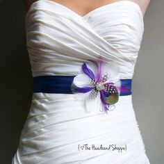 COLWELL  Peacock Feather Wedding Sash Bridal by TheHeadbandShoppe, $62.00