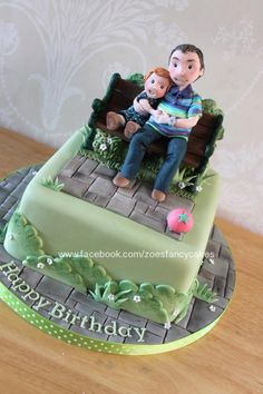 Little Park bench scene - Cake by Zoe's Fancy Cakes Fondant Cakes, Cupcake Cakes, Cup Cakes, Beautiful Cakes, Amazing Cakes, Allotment Cake, Zoes Fancy Cakes, Dad Cake, Dad Birthday Cakes