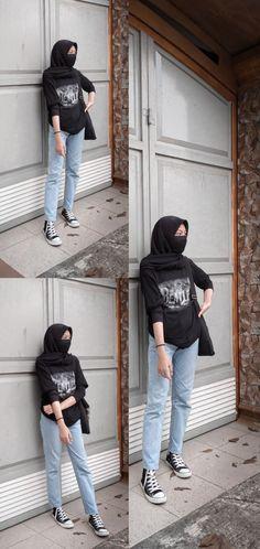 Modern Hijab Fashion, Street Hijab Fashion, Hijab Fashion Inspiration, Korean Street Fashion, Muslim Fashion, Ootd Fashion, Teen Fashion Outfits, Streetwear Fashion, Casual Hijab Outfit