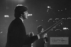 "karinabeat: ""  Paul McCartney and George Harrison, Metropolitan Stadium, Bloomington, MN, August 21, 1965 [x] """