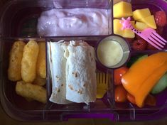 Chicken and mayo wrap, baby plum tomatoes, pepper and cucumber with salad cream to dip. Carrot snacks (puff crisps), Arla Lactofree raspberry yoghurt followed by grapes and mango. #Arlalactofreeyoghurt Lactose Free Lunches, Raspberry Yoghurt, Salad Cream, Plum Tomatoes, Cucumber, Dip, Carrots, Mango, Manga