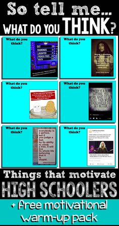 """what do you think?"""" Tips for motivating high school students. Tips on motivating high school students and a free pack of motivational warm-ups.Tips on motivating high school students and a free pack of motivational warm-ups. High School Counseling, High School Classroom, My High School, High School English, High School Students, School Teacher, Middle School, Classroom Ideas, Icebreakers High School"""