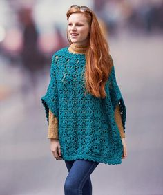 Let's Party Poncho Free Crochet Pattern. This poncho features a pretty stitch pattern in sizes to fit Small to The yarn is wrapped in metallic for a happy, let's party vibe that can go from laid back denim to evening glam. Crochet Poncho Patterns, Crochet Cape, Crochet Jacket, Crochet Cardigan, Crochet Scarves, Crochet Shawl, Crochet Clothes, Knitting Patterns, Knit Crochet