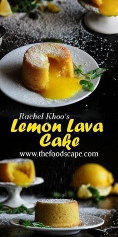 Monday Muse: Lemon Lava Cakes Mini Lemon Cakes with an oozing Lemon Curd center, perfect for lovers of citrus desserts! Learn how to make Rachel Khoo's perfect Lemon Lava Cakes in this post! Lemon Desserts, Lemon Recipes, Baby Food Recipes, Mexican Food Recipes, Baking Recipes, Lemon Cakes, Healthy Recipes, Lemon Curd Dessert, Cheap Recipes