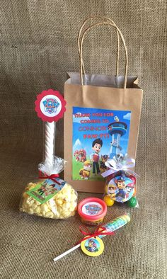 Paw Patrol Party Favors and Bags - 10 Personalized Goodie Bags - Birthday Party - PlayDoh Popcorn Lollipop Marshmallow Twist Bubble Gum - MyPartyElements Birthday Party Goodie Bags, Party Favor Bags, 4th Birthday Parties, Birthday Party Favors, Birthday Ideas, Paw Patrol Party Favors, Paw Patrol Birthday Theme, Third Birthday, First Birthdays