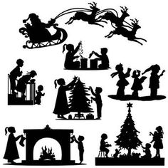 Christmas xmas Die Cut Out Silhouette 7 x toppers. Great for