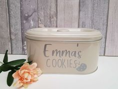 Personalised cookie tin for all of your favourite treats! 🍪 Dog Photo Frames, Little Girl Pictures, Rose Gold Gifts, Sweet Jars, Dog Treat Jar, Personalized Cookies, Cookie Tin, Gotcha Day, Personalised Frames