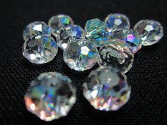 10 Clear Aurora Borealis Swarovski Rondelles by WhispySnowAngel, $2.25