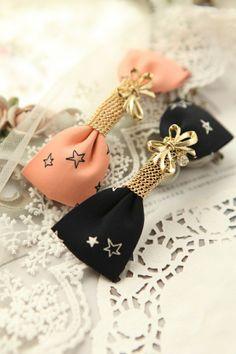 韩版 星星图案的手工蝴蝶结弹簧夹