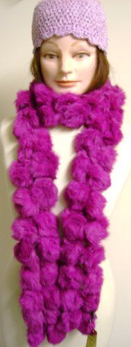 Two Strand Luxurious Long Rabbit Fur Light Purple Color Scarf for Women and Teens Offered in Combination with Hand Crocheted Chenille and Gimp Tweed Skull Cap $55.99