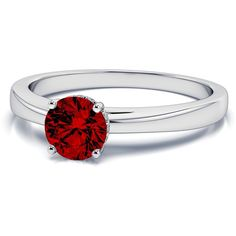 .04ctw Halo Diamond and 5mm Ruby Gemstone Ring in 18k White Gold ($1,329) ❤ liked on Polyvore featuring jewelry, rings, gem engagement rings, 18k diamond ring, ruby ring, gemstone rings and engagement rings
