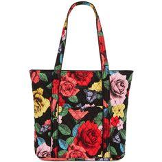 Vera Bradley Vera 2.0 Tote ($86) ❤ liked on Polyvore featuring bags, handbags, tote bags, havana rose, vera bradley tote, white tote, white tote purse, tote bag purse and print tote