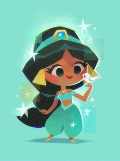 Princess Jasmine - Art Print Board: All About Disney Cute Disney Drawings, Disney Princess Drawings, Disney Princess Art, Disney Princess Pictures, Cute Drawings, Cute Princess, Disney Princesses, Chibi Disney, Kawaii Disney