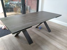Extendable version of our dining table Xenon with Blaze Dark ceramic top and graphite legs. Available in other sizes. Delivered to our client in Essex. Leather Bed, Sofa Design, Modern Bedroom, Contemporary Furniture, Graphite, Sideboard, Dining Table, Ceramics, Legs