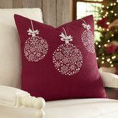 Inspiration for Christmas diy pillows. Use kids' hand prints hanking down from ribbon...Lyra Ornament Pillow Cover #birchlane
