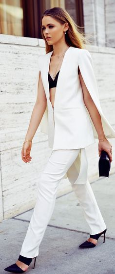 Bcbg Max Azria White Taylor Cape And Skirt Pant Suit by Kayture