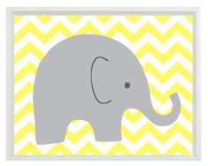 Elephant Chevron Nursery Wall Art Print - Yellow Gray Decor - Children Kid Baby Room - Wall Art Home Decor 8x10 Print. $15.00, via Etsy.