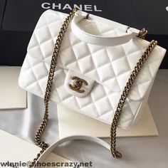 Chanel Wax Calfskin Flap Bag With Handle A93424 Rome 2016