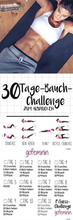 The 30 day belly challenge: bye rolls, hello six pack! - The 30 day belly challenge: bye rolls, hello six pack! Informations About Die 30 Tage Bauch-Challeng - Fitness Workouts, Fitness Motivation, 30 Day Fitness, Fitness Routines, Body Fitness, Fun Workouts, At Home Workouts, Health Fitness, Exercise Routines