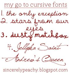 """""""Sincerely Peachy"""": Free Font Friday: My Go To Cursive Fonts  ~~  4 Free Cursive Fonts with links"""